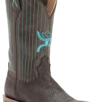 Twisted X HOOey Men's Chocolate Shoulder with Turquoise Pinstripe Logo Top Square Toe Western Boots
