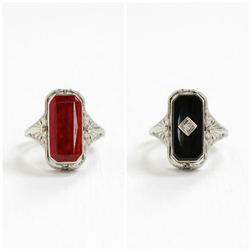 Vintage 14k White Gold Filigree Flip Ring - Antique Created Ruby & Onyx and Diamond Art Deco 1920s Fine 2 in 1 Rare Double Sided Jewelry