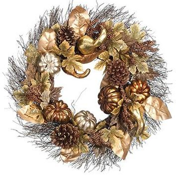 "Artificial Pumpkin, Gourd & Cone Fall Wreath in Metallic Copper Gold - 24"" Diameter"
