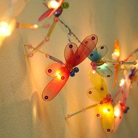 Colourful dragonfly string lights for party and decoration (20 bulbs)
