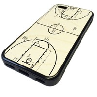 For Apple iPhone 5C REAL MAPLE WOOD WOODEN Case Cover Skin Basketball Court Diagram Cool DESIGN BLACK RUBBER SILICONE Teen UNIQUE CUSTOM Gift Vintage Hipster Fashion Design Art Print Cell Phone Accessories