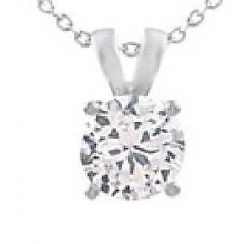 2 ctw Created Diamond Solitaire Pendant Necklace ~ Sterling Silver ~ Gift box