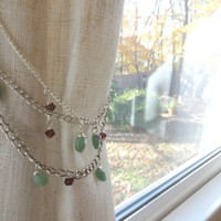 Crystal Beaded Curtain Tiebacks With Swarovski Crystal Beads, Curtain Hold Back