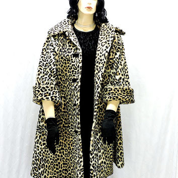 1950s leopard faux fur swing coat / XL / plus size / 16 / 2X / vintage 50s leopard faux fur coat / cheetah faux fur coat / SunnyBohoVintage