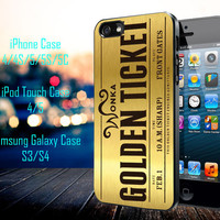 Willy Wonka Golden Ticket Samsung Galaxy S3/ S4 case, iPhone 4/4S / 5/ 5s/ 5c case, iPod Touch 4 / 5 case