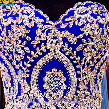2017 royal blue Prom Dress Chiffon A-Line Sweetheart Off The Shoulder With Luxury Beads sweep Train Dress For Women Prom Gown
