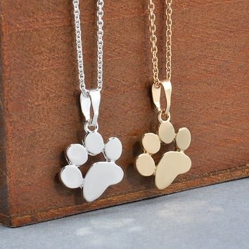 Fashion Cute Pets Dogs Footprints Paw Chain Pendant Necklace Necklaces & Pendants Jewelry for Women Sweater necklace-0330