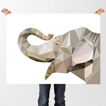 Low Poly Elephant Print, Jungle Nursery Theme, Geometric Elephant Illustration, Instant Download, Printable Wall Art, Polygon Elephant