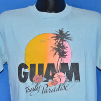 80s Guam Truly Paradise Sunset Palm Tree Light Blue t-shirt Large