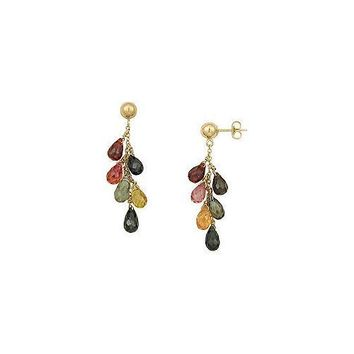 Multicolor Gemstone Drop Earrings : 14K Yellow Gold - 6.00 CT TGW