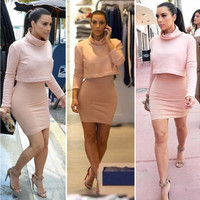 Pink two-piece dress OP0108A