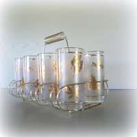 VINTAGE HOLIDAY ENTERTAINING Beverageware Set of 8 White Frosted Libbey Mid Century Drinking Glasses in Metallic Gold Leaf Pattern / Bar