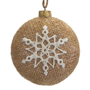 "3.25"" Silent Luxury Brown Burlap Christmas Ornament with Sparkly Snowflake Design"