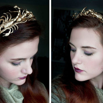 Golden Insect Tiara - Gothic Wedding Hair Accessory - Bug Jewelry