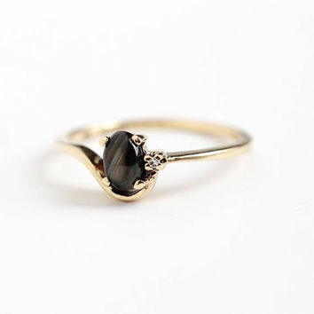 Vintage 10k Yellow Gold Genuine Black Star Sapphire & Diamond Ring - Retro 1970s Size 7 Oval 1/2 Carat Dark Gem Cabochon Fine Jewelry