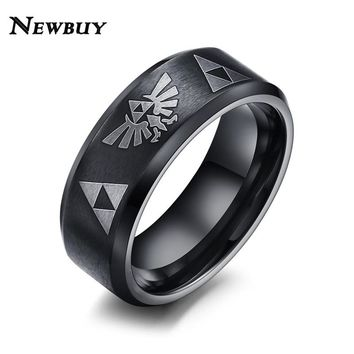 NEWBUY Fashion Men Punk Jewelry 8mm Wide Stainless Steel Ring Cool Men Zelda Ring Jewelry Black Color