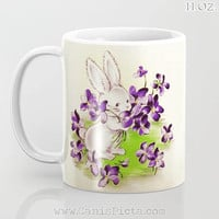 Vintage Lilac Easter Bunny 11/12/15 oz Mug Spring Dishwasher Microwave Cup Tea Coffee Drink Gift Rabbit Cute Retro Purple Flowers Lavender