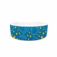 "Yenty Jap ""Starry And Cloudy Night"" Blue Yellow Pet Bowl"