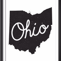 Ohio State Typography Map Print