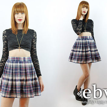 Vintage 90s Grunge Skirt S M Plaid Mini Skirt Tartan Plaid Skirt High Waisted Skirt 90s Tartan Skirt Schoolgirl Skirt Skater Skirt
