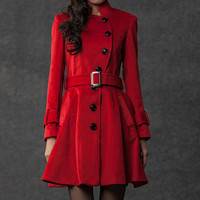 winter coat cashmere Belted  red coat by YL1dress on Etsy