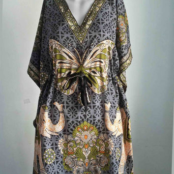 Thai Hippie hobo poncho Kaftan Tunic Dress African Butterfly Vintage Grey Beach Sundress  Free Size