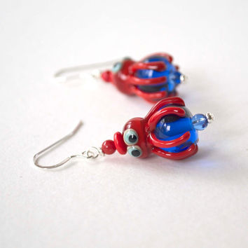Octopus Earrings, Red Earrings, Beach Resort Earrings, Lampwork Glass Bead Earrings