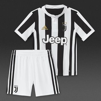 KUYOU Juventus 2017/18 Home Kids(Youth) Kit Personalized Name and Number