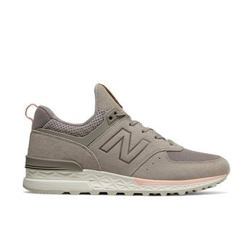 New Balance - Women's 574 Sport (WS574PMC) - Flat White with Himalayan Pink