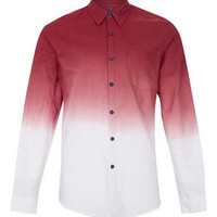 BURGUNDY WHITE DIP DYE LONG SLEEVE SHIRT - Men's Shirts  - Clothing