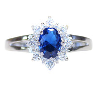 Sapphire Promise Ring – Blue Cubic Zirconia