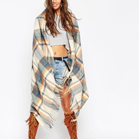 ASOS   ASOS Oversized Scarf In Orange & Blues Check With Tassels at ASOS