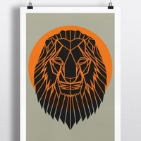 Geometric Lion Head Print Orange