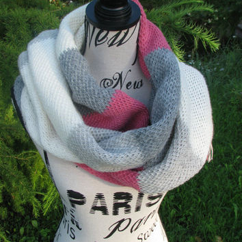 knitted scarf shawl  infinity scarf knit scarf crochet scarf head scarf nursing scarf The tri-color scarf wool scarves