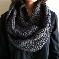Charcoal Gray Infinity Scarf Crocheted