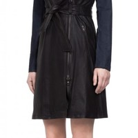 Mackage - LENA BLACK LEATHER TRENCH COAT