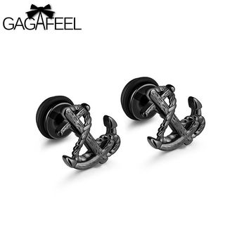 GAGAFEEL Vintage Anchor Stud Earring Men's Earring Jewelry Stainless Steel Silver Gold Black Color