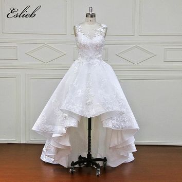 High Low Wedding Dress A Line Sleeveless  Brush Tail High-end Lace Appliques Button Back Sheer Illusion Design Bridal Gown