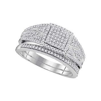10kt White Gold Women's Round Diamond Square Bridal Wedding Engagement Ring Band Set 1/2 Cttw - FREE Shipping (US/CAN)