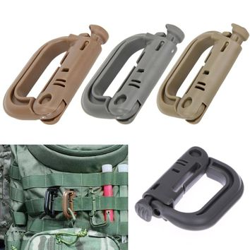 5pcs Outdoor D-shaped Buckle Molle Carabiner Locking Ring Mount D-Ring Clip Snap Hook Backpack Buckle Travel Kits Portable Tools
