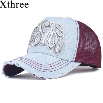 Xthree fashion women's mesh baseball cap for girl summer cap snapback Hat for men bone gorra  casquette fashion hat