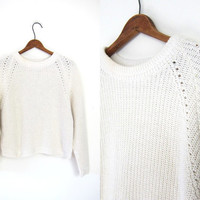 Minimal White Knit Cropped Sweater Preppy Raglan Cotton 90s Pullover Boho Shirt Plain Long Sleeve Basic Crop Top Vintage Extra Small XS