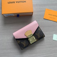 HCXX 1983 Louis Vuitton LV Pallas S-Lock Fashion Wallet Pink