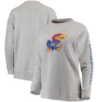 Women's Pressbox Ash Kansas Jayhawks Blume Comfy Terry Sweatshirt