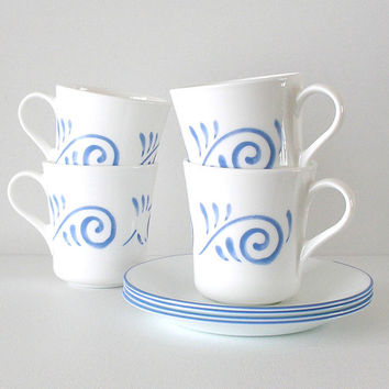 Vintage Corningware Cups & Saucers Blue White Swirl Set of 4