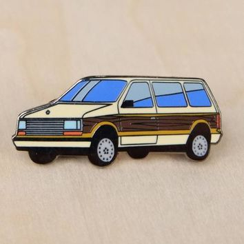 Plymouth Voyager Hard Enamel Lapel Pin - Beige Wood Paneled Minivan Tan Dodge Caravan Hat Pin Retro 80's 90's Flair