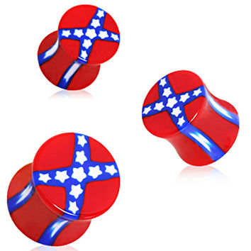 Rebel Flag Saddle UV Acrylic Plug