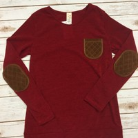 Red Sweater with Front Pocket and Elbow Patches