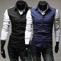 Color Contrast Slim Fit Fashion Dress Shirt