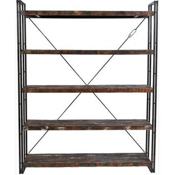 Abran Reclaimed Wood & Metal Book Shelf/Wall Unit